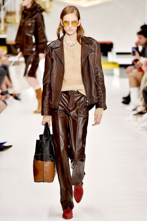 Autumn winter fashion trends 2018: Tod's dark brown leather tailoring
