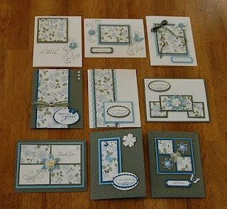 These are lovely and simple.. 9 cards fro one 8x8 patterned paper (need extra cardstock and card bases)... also an A2 card box!