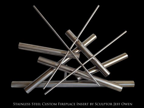 Custom Stainless Steel Fireplace Insert Steel Sculpture