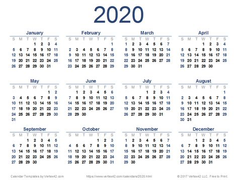 Calendrier 2020 Pinterest.Download A Free 2020 Calendar From Vertex42 Com Monthly