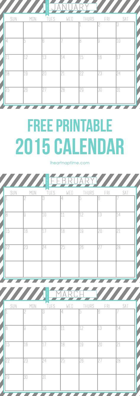 Free 2015 Printable Calendar from iheartnaptime.com