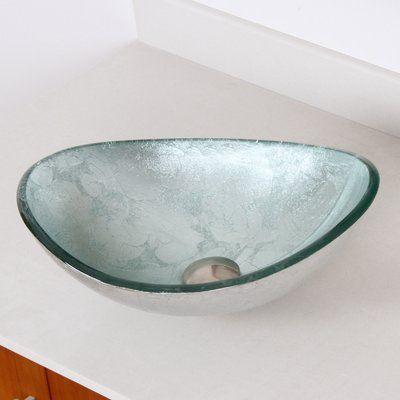 Elite Hand Painted Glass Oval Vessel Bathroom Sink Sink Finish Silver Bathroom Sink Glass Sink Vessel Sink Bathroom