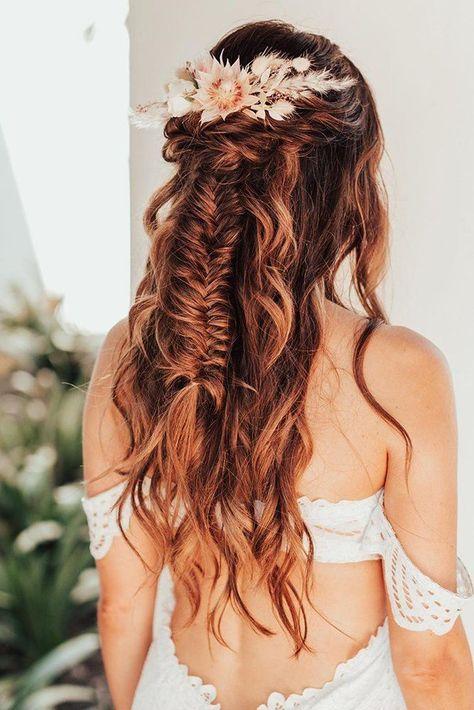 33 Wedding Hairstyles With Hair Down ❤ wedding hairstyles down long hair with natural boho halo dry flowers hairbykayti #weddingforward #wedding #bride #weddinghairstyles #weddinghairstylesdown