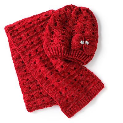 Apt. 9 2-pc. Bow and Rhinestones Knit Hat and Scarf Set
