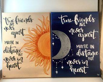 Cierto amigos el sol & Luna distancia lienzo conjunto de 2 - mano cita con letras lona pintura pared arte cuadros