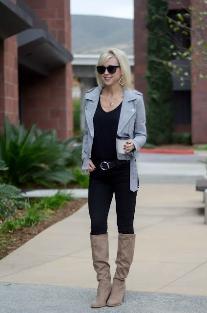 Four Ways To Wear Taupe Knee High Boots Taupe Knee High Boots High Knee Boots Outfit Taupe Boots Outfit