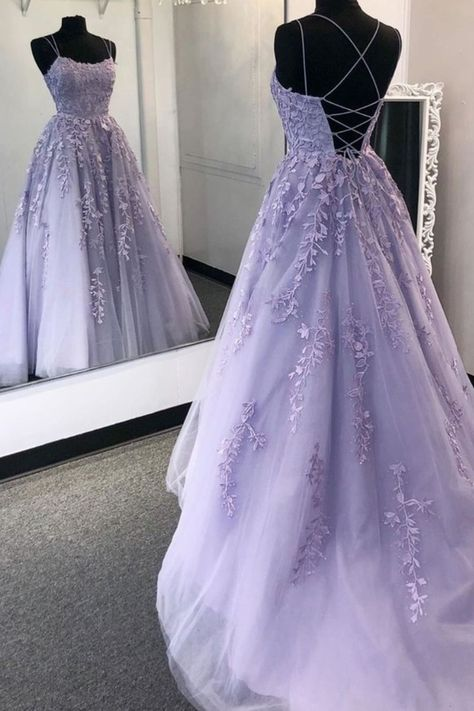 Backless Purple Lace Prom Dresses, Open Back Purple Lace Formal Evening Dresses - Bal de Promo Deb Dresses, Pretty Prom Dresses, Quince Dresses, Lace Evening Dresses, Ball Dresses, Purple Prom Dresses, Grad Dresses, Lavender Prom Dresses, Princess Prom Dresses