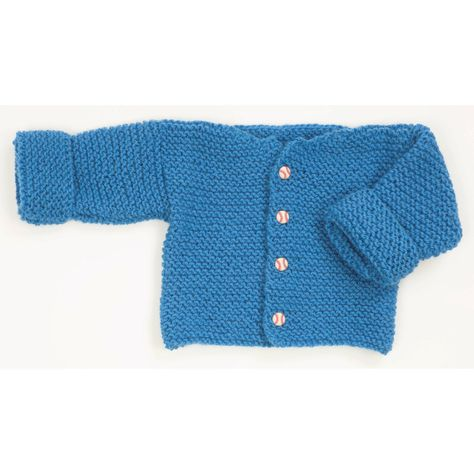 469eed7a29a3 Easy Garter Stitch Baby Sweater in Plymouth Encore Worsted - F165 ...