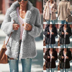 Women Winter Warm Teddy Bear Fluffy Coat Fleece Fur Jacket Zip Up Outerwear UK