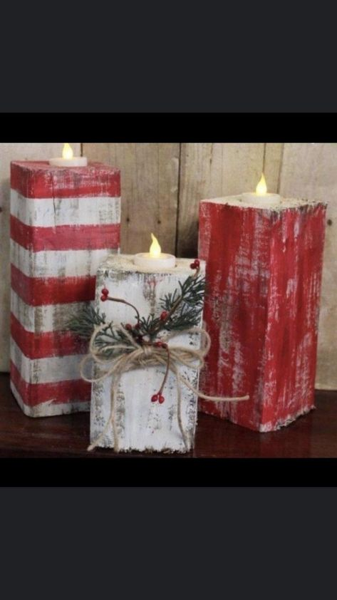 of the Best DIY Christmas Decorations Rustic Wood Christmas Candles.these are the BEST Homemade Holiday Decorations & Craft Ideas! Noel Christmas, Christmas Candles, Outdoor Christmas, Christmas Candle Holders, Christmas Cactus, Christmas Lights, Candy Cane Christmas, Office Christmas, Christmas Vacation
