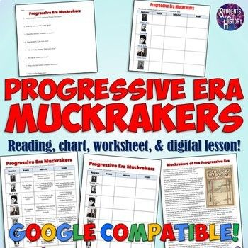 Progressive Era Muckrakers Chart And Worksheet In 2021 History Teaching Resources Worksheets Progress Progressive era muckrakers worksheet answers