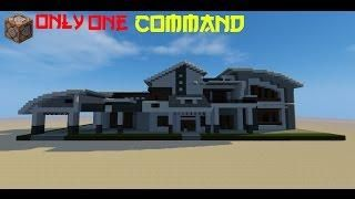 Minecraft Modern House In 1 Command In 2020 Small Modern Home Minecraft Modern Minecraft House Tutorials
