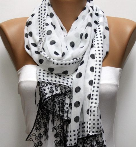 White Scarf - Cotton Scarf Headband Necklace Cowl with Lace Edge Gift - Polka dot -I love this look