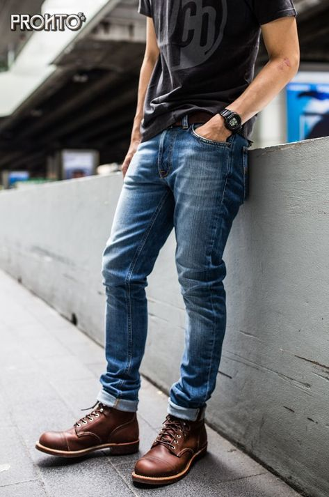 Mens jeans relaxed fit style в 2019 г. mens fashion:cat, nudie j Nudie Jeans, Mens Boots Fashion, Denim Fashion, Fashion Shirts, Outfit Jeans, Beste Jeans, Red Wing Boots, Jean Outfits, Guy Outfits