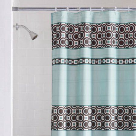 Dimitri Fabric Shower Curtain Turquoise Chocolate Brown Casual