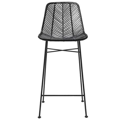 Old meets new in this uber classy rattan bar stool. Rattan seat on black metal…