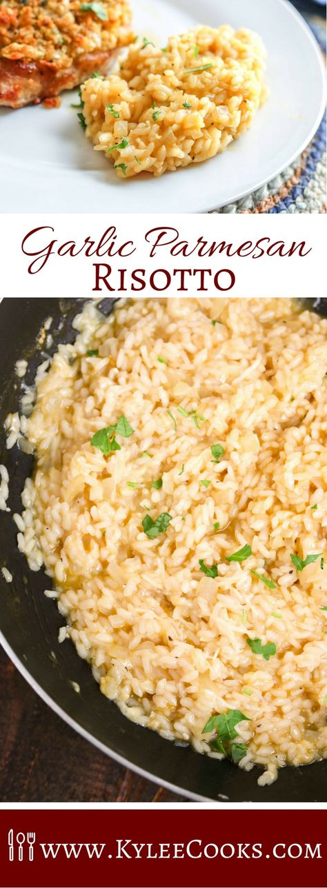 Risotto in 17-25 minutes?! I'm in! Garlic Parmesan Risotto may be the star of the show we call 'dinner' in this easy side - it's sure to please the whole family! #risotto #parmesan #sidedish #recipe #kyleecooks via @kyleecooks