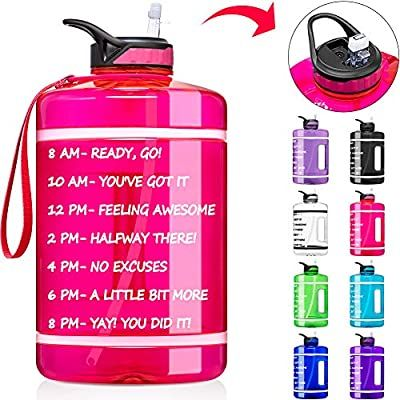 Amazon Com Fimibuke 64 Oz Half Gallon Motivational Water Bottle With Time Marker Straw Bpa F In 2020 1 Gallon Water Bottle Sport Water Bottle Gallon Water Bottle
