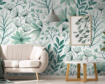 Colorful Flowers Wallpaper Self Adhesive Wallpaper Wall Etsy Classic Wallpaper Removable Wallpaper Wall Wallpaper