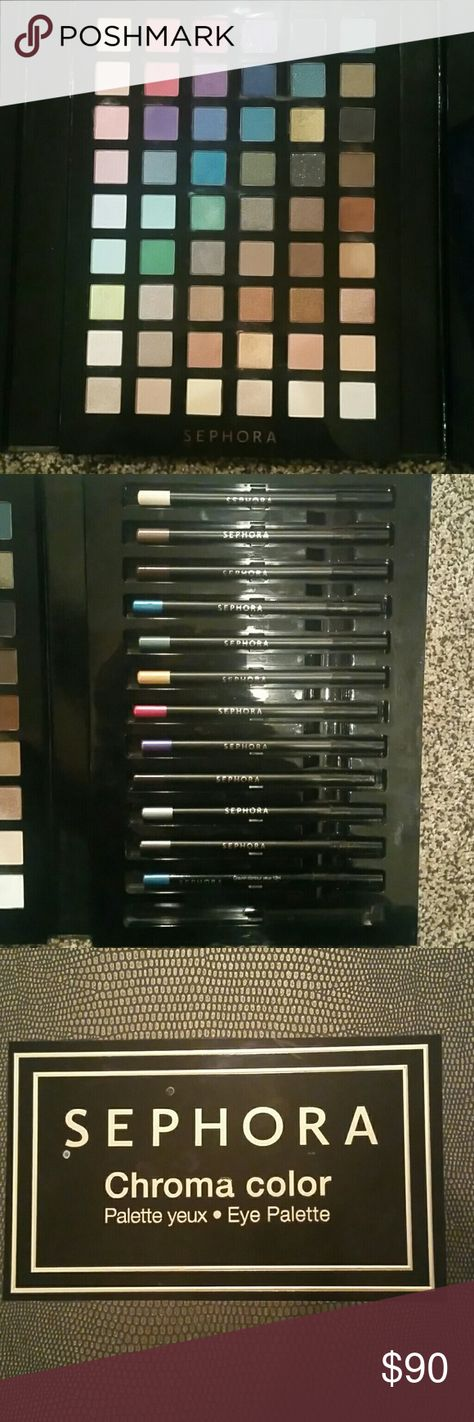 Sephora Chroma color palette Used maybe 4 colors of the entire pallet, it comes with 13 different eyeliner colors but two are missing! I am willing to negotiate price or trade Sephora Makeup Eyeshadow