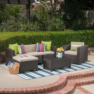 Puerta Outdoor 4 Seater L Shaped Sofa Set With Cushions By