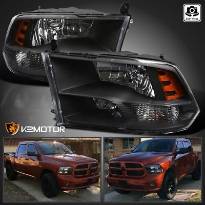 2009 2017 Dodge Ram 1500 2500 3500 Black Quad Headlights Lamps