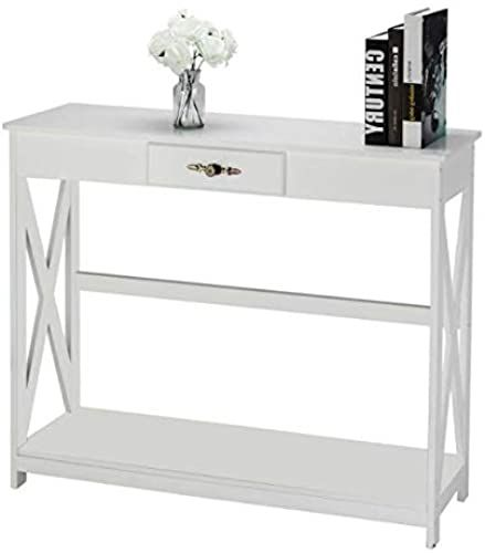 Beautiful Narrow Wall Table Draper Console Table White Finish Open Shelving With Small Drawer Designed For Your Small In 2020 Drawer Design Open Shelving Wall Table