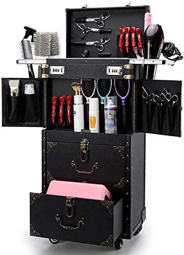 New Ascase Rolling Lockable Makeup Train Case Hairdressing Trolley Stylist Beauty Salon Cosmetic Luggag Hairdressing Trolley Makeup Train Case Home Hair Salons