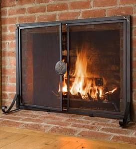 Greenwood Fire Screen With Doors Plowhearth Fireplace Screens With Doors Fireplace Fireplace Screens