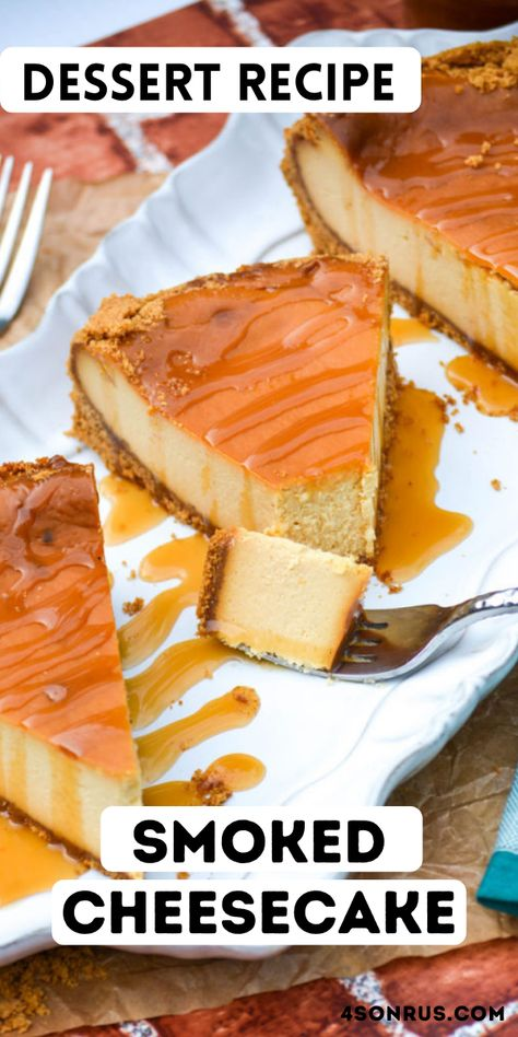 Smoked cheesecake is a fun spin on the traditional dessert. Mild smoky flavors elevate the classic dish with an extra note of flavor that's perfect for summer! #cheesecake #dessert #recipe