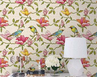 Floral And Birds Removable Wallpaper Traditional Pink Print Wall Mural Self Adhesive Wall Decal Temporary Tree Wallpaper Removable Wallpaper Wallpaper