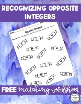Free Opposite Integers Matching Worksheet Print And Go Special