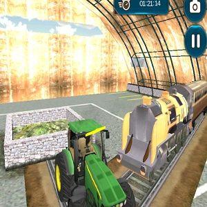 Буксировка поезда трактором