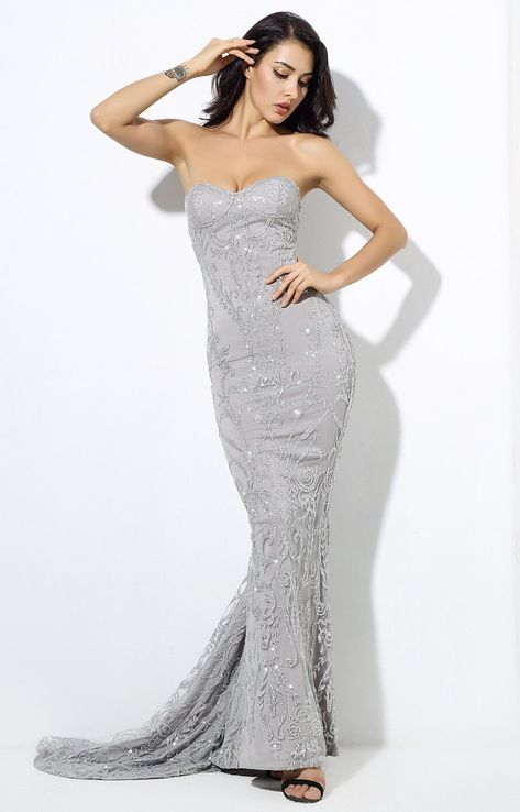 11484936c37 Say hello to the latest piece to land in our Fashion Genie Boutique range!  This silver strapless maxi dress is a team favourite and is perfect for  that ...