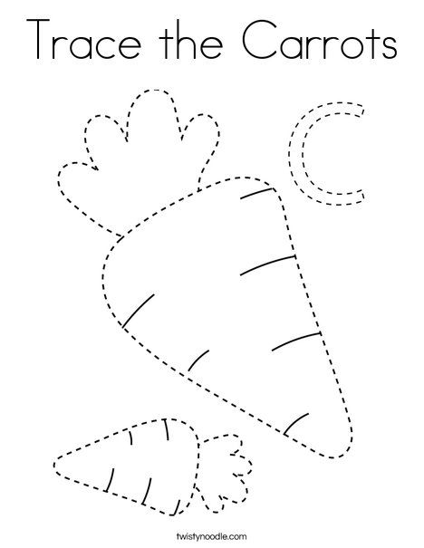 Trace The Carrots Coloring Page Twisty Noodle Preschool Coloring Pages Fun Worksheets For Kids Tracing Practice Preschool