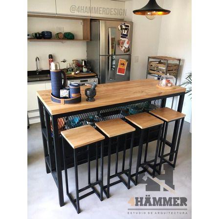 Desayunador Barra Hierro Y Madera Estilo Industrial 39 900 00 Diseño Muebles De Cocina Diseño De Interiores De Cocina Muebles De Diseño Industrial