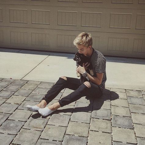 Jack Johnson with a puppy