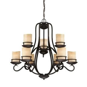 9 Light Antique Bronze Chandelier With Bronze Glass Shades 70639 Abz The Home Depot Designers Fountain Chandelier Lighting Chandelier Shades