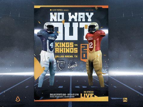 American Football Super Bowl Flyer Template Uniforms Mock Up