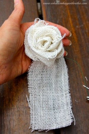 How to make a burlap rosette, step-by-step! by whatscookingwithruthie.com #howto #DIY #craft