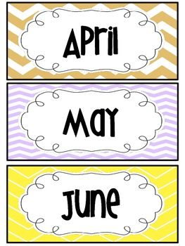 graphic relating to Printable Months of the Year known as Freebie * Weeks of the 12 months (chevron le playing cards) Free of charge