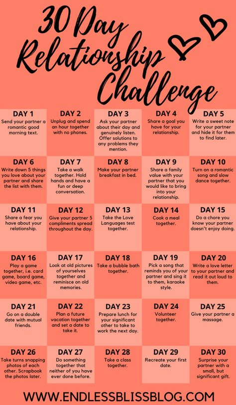 30 Day Relationship Challenge Take this 30 Day Relationship Challenge to help strengthen the relationship between you and your partner and grow closer than you've ever been.