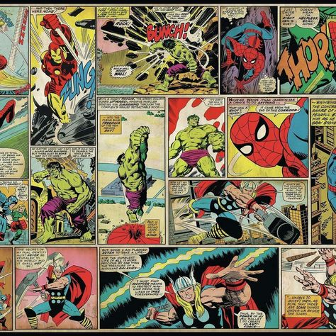 MARVEL COMIC PANEL XL CHAIR RAIL PREPASTED MURAL 6' X 10.5' - ULTRA-STRIPPABLE