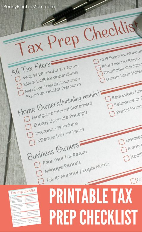 Printable Tax Prep Checklist - printable tax form