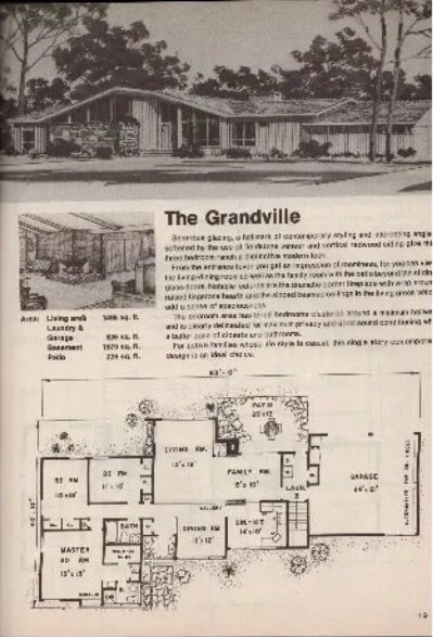 The Grandville Vintage Mid Century Modern House Plan Mid Century Modern House Plans Mid Century Modern House Ranch House Plans