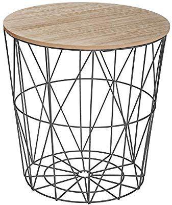 Atmosphera Korbtisch Beistelltisch Metall Korb Mit Holz Deckel 40