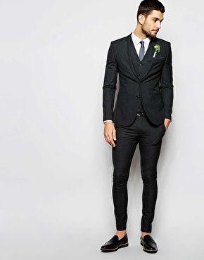 cd7d5b702cb0 ASOS Wedding Super Skinny Suit in Charcoal