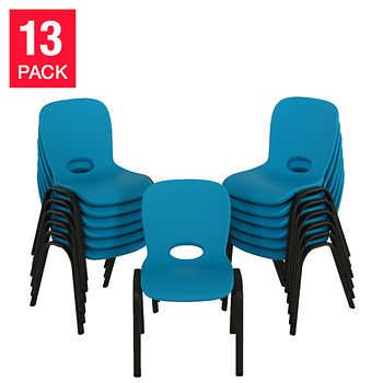 Lifetime Kids Stacking Chair Blue 13 Pack 259 Costco Stacking Chairs Sunday School Room Decor Kids Chairs