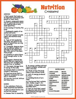 Healthy Eating Nutrition Crossword Puzzle Crossword Nutrition Proper Nutrition