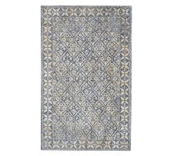 Pottery Barn Bosworth Printed Medallion 9 X 12 Plush Wool Area Rug Blue Wool Area Rugs Blue And White Pillows Blue Oriental Rug